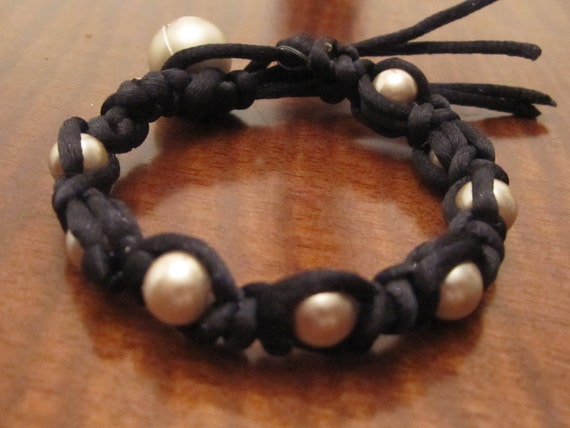 Faux pearl   and silk band wrap