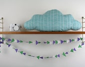 Cloud Pillow - Blue White Stripe Cloud - Nursery / Kids Room - Cotton Pillow - Cloud Cushion