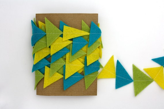 Triangle Garland - Geometric Felt Garland - Yellow Green Turquoise Blue