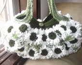 Crochet Flower Purse White and Greens