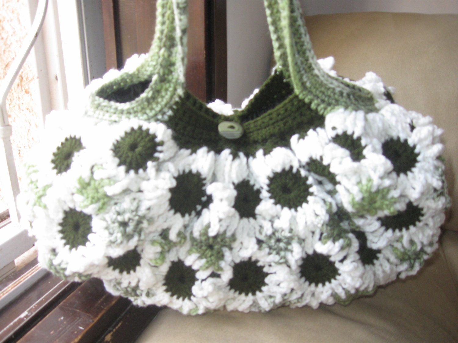 Flower Crochet Bag : Crochet Flower Purse White and Greens by MeladorasCreations