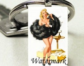 Domino Size Glass Metal Frame Key Chain-Telephone Pin Up Woman Sexy Retro