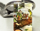 Domino Size Glass Metal Frame Key Chain-Frog Jazz Band Fairies Elves Magical Fantasy