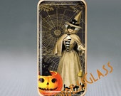 Halloween Witch Black Cat Spider WebPuffy Glass Brooch Pin-