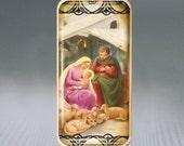 Nativity Scene Christmas Puffy Glass Brooch Pin-Jewelry