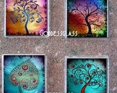 Glass Tile Magnet Set-Swirl Trees Abstract Colorful