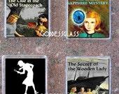 Glass Tile Magnet Set of 4-Nancy Drew Novel Detective Mystery Cool Geek Book Lover