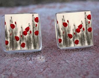 Glass Tile Post Earrings-Red Poppies Flowers Nature Garden