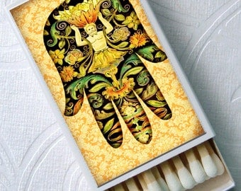 Hamsas Colorful Hands of Fatima Party Favor Set of 4 Match Boxes