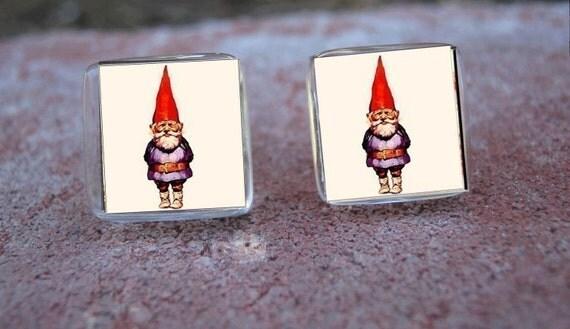 Glass Tile Post Earrings-Garden Gnome Nature Fantasy