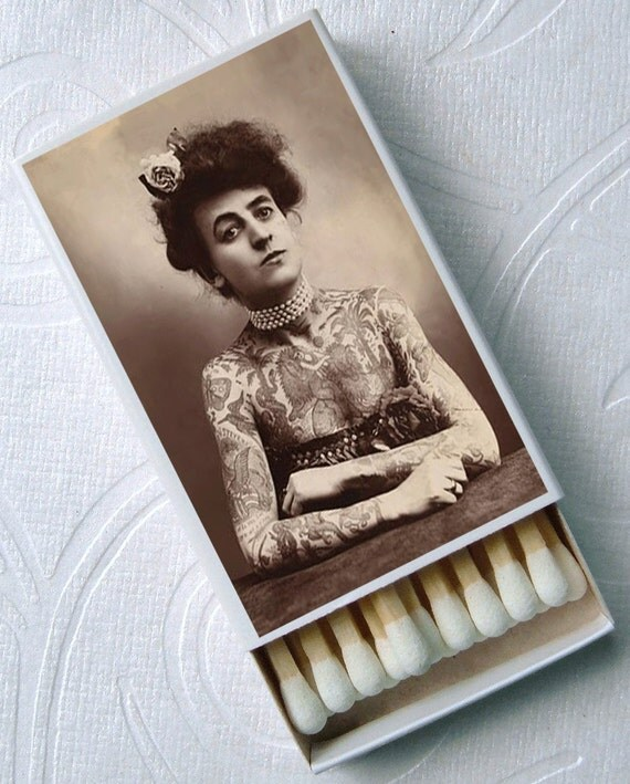 Circus Freaks Snake Charmer Tattoo Lady Dog Face Boy Set of 4 Match Boxes