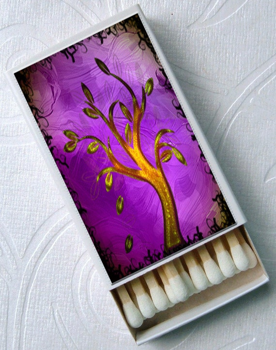 Abstract Swirl Trees Nature Bridal Gift Set of 4 Match Boxes