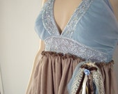 Bohemian Gypsy Garden Dress, upcycled size XS AU brown and blue