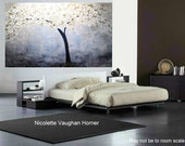 ORIGINAL XXLarge  4ft x 3ft  gallery wrap canvas-   abstract  landscape trees painting by Nicolette Vaughan Horner