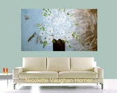 SALE ORIGINAL XLarge 4ft x 2ft gallery wrap canvas-Contemporary abstract  impasto  floral   painting by Nicolette Vaughan Horner Sale