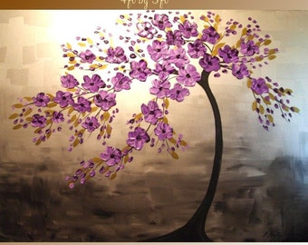 """BIG SIZE  48""""by 36"""" ORIGINAL oil/acrylic Impasto  painting  trees,floral  by Nicolette Vaughan Horner"""