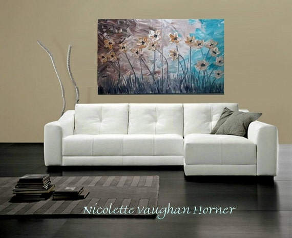 Artmod...Diptych Contemporary  mixed media Impasto palette knife modern art  on canvas painting 'Cool Days'