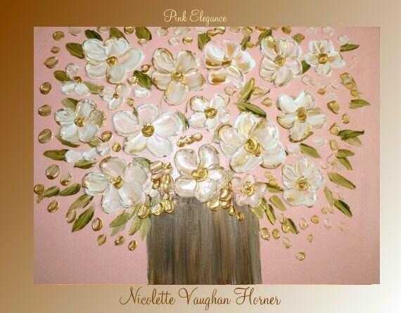 "ORIGINAL Contemporary  Impasto modern art  on canvas painting "" Pink Elegance"" by Nicolette Vaughan Horner"