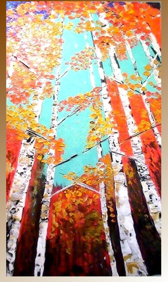 Original  4ft by 2ft oil/acrylic painting landscape trees abstract  by Nicolette Vaughan Horner