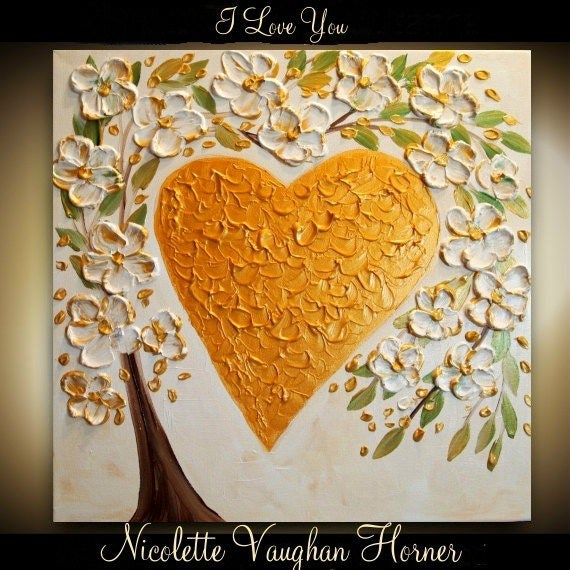 ORIGINAL   gallery fine art painting on canvas-Contemporary impasto    abstract  Floral Heart    by Nicolette Vaughan Horner