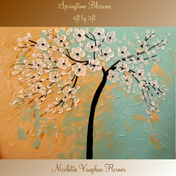 ORIGINAL XLarge 4ft x 3ft   gallery wrap canvas-Contemporary impasto   abstract  Floral Trees  painting by Nicolette Vaughan Horner
