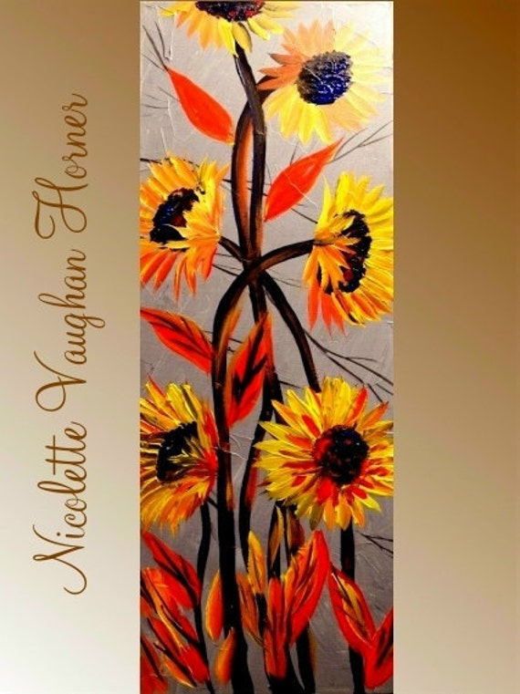 Original   abstract contemporary impasto fine art  floral painting by Nicolette Vaughan Horner