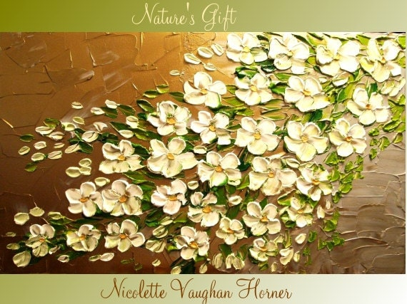 ORIGINAL Large  gallery wrap canvas- impasto abstract  floral painting  Nature's Gift by Nicolette Vaughan Horner Free ship