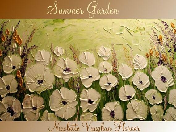 XLarge gallery wrap canvas Original Contemporary   oil/acrylic  Impasto Summer Garden painting by Nicolette Vaughan Horner