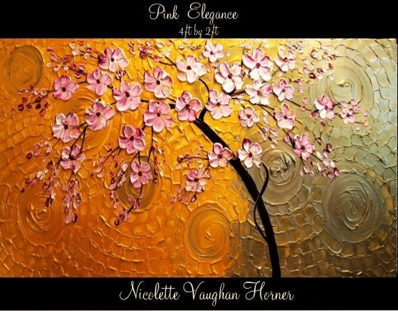 ORIGINAL XLarge 4ft x 2ft   gallery wrap canvas-Contemporary impasto  abstract  floral painting by Nicolette Vaughan Horner Free ship