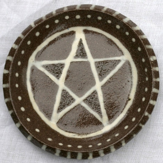 Terracotta Ceramic Clay Pentacle Star T-light Holder, Tea Light Holder, Candle Holder, Offering Bowl, Trinket dish, Ring Dish, Pentagram
