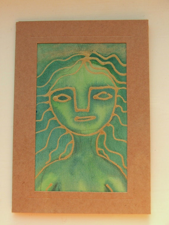 Recycled Greeting Card and Envelope - Hand painted Fabric Textile - Green Woman Goddess