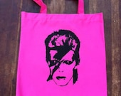 David Bowie Hot Pink Rock N' Roll Tote Bag