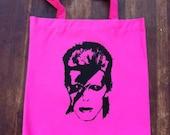 David Bowie Hot Pink Rock N' Roll Tote Bag