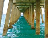 Turquoise Ocean Photography. Peaceful Print of Calm Ocean Under the Pier.  Beach Wall Art Home Decor - Pier 2