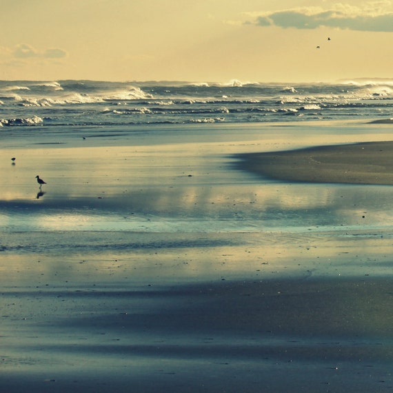 Beach Photography Digital Download | Printable Beach Wall Art Decor | Ocean Printable | Sunset Blue Ocean Waves Outer Banks | Sandy Sunset