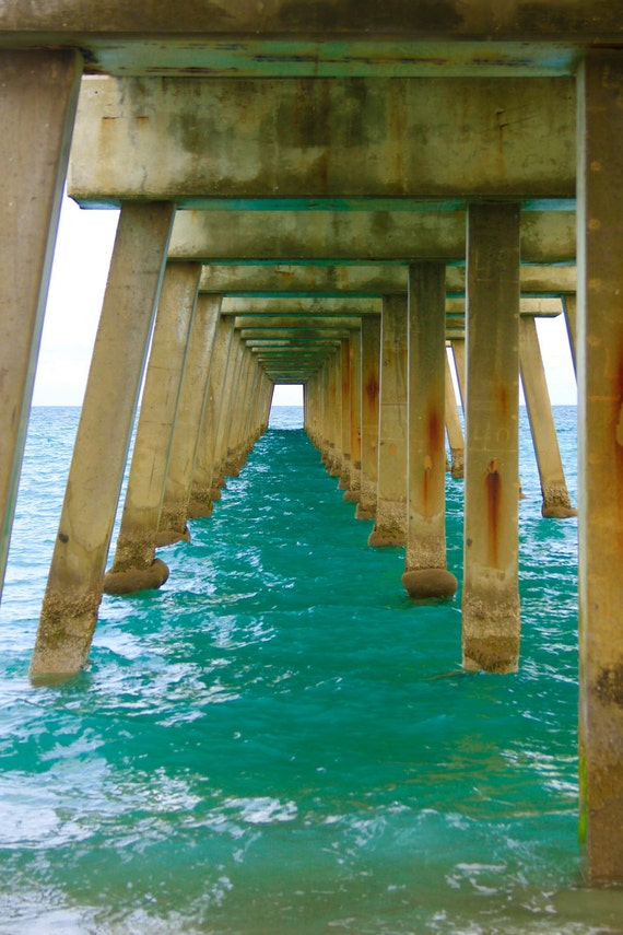Turquoise Ocean Photography | Peaceful Print of Calm Ocean Under Pier | Beach Wall Art Print Beach House Decor | Beach Photography | Pier 2