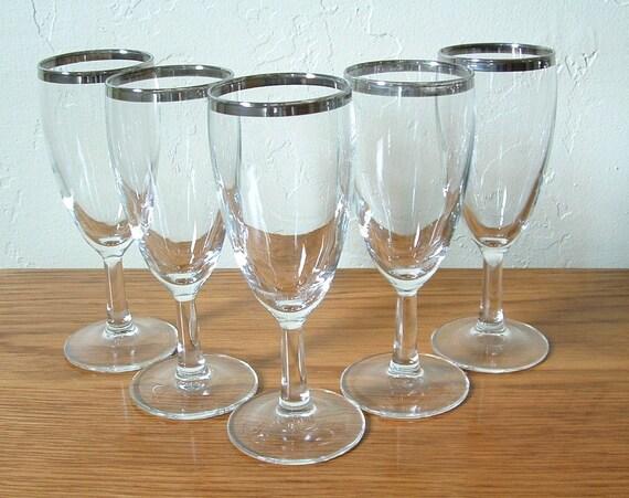 Vintage Silver Rim Wine Glasses Set of 5 Sherry Cordial Mad Men
