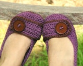 CROCHET PATTERN #205 Womens House Slipper - Violet - SIX sizes included - Womens 5 - 10 - Instant Download  kc550