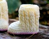 Baby Shoe Crochet Pattern for Baby Cable Boots  Pattern number 107 - Instant Download L
