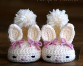 CROCHET PATTERN #204 Baby booties Bunny Slipper  -  Instant Download Classic Year-Round Bunny House Slippers K