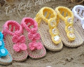 Baby crochet pattern sandal 2 Versions and Free barefoot sandal pattern included with purchase number 211 Instant Download  kc550