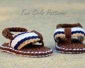 CROCHET PATTERN #116 -Crochet Patterns for Sporty Flip Flop Baby Sandals - Instant Downloads PDF - Crochet sandal pattern - baby sizes