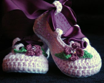 CROCHET PATTERN #202 Baby Ballerina Ballet slippers PDF  - Pattern number 202 Instant Download kc550