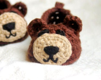 Crochet Pattern for Baby Booties  - Baby Bear House Slippers Pattern number 102 - Instant PDF Download