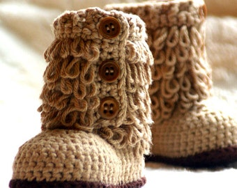 Crochet baby shoes pattern Furrylicious Boot - Pattern number 200 Instant Download kc550