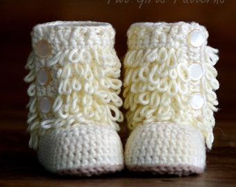 Crochet Pattern Baby Boot - Furrylicious loop boot  - Pattern number 200 Instant Download kc550