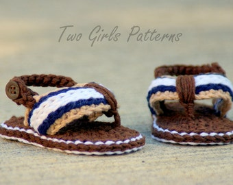 CROCHET PATTERN #116 -Crochet Patterns for Sporty Flip Flop Baby Sandals - Instant Downloads PDF - Crochet sandal pattern - baby sizes L