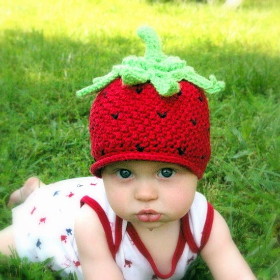 CROCHET PATTERN #208 - Baby Strawberry Beanie Hat  - Crochet Pattern -Instant Download kc550