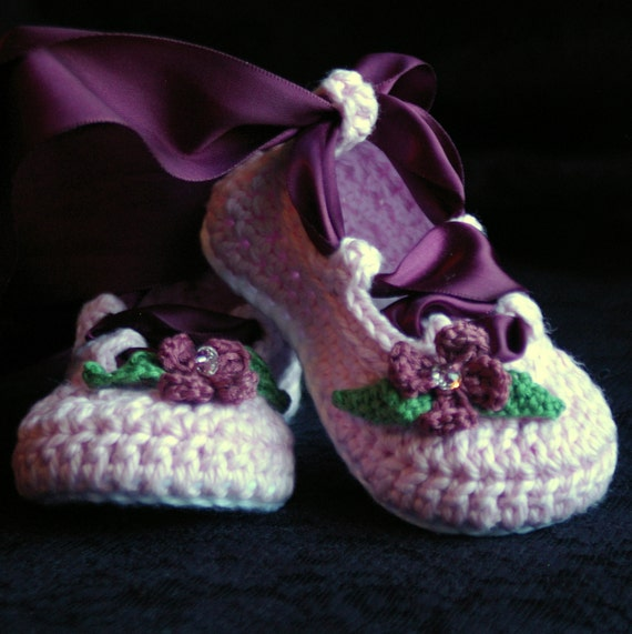 CROCHET PATTERN #202 Baby Ballerina Ballet slippers PDF  - Pattern number 202 Instant Download