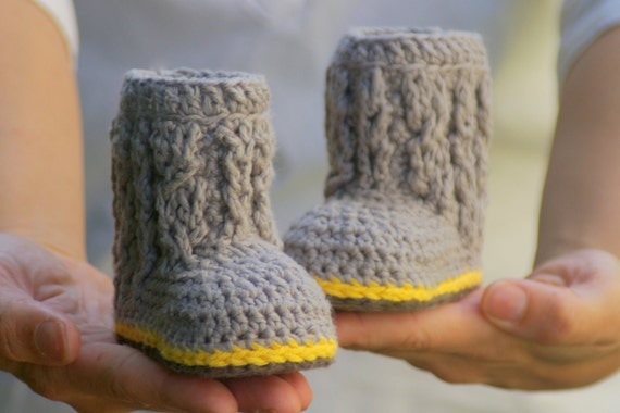 Baby Booties Crochet Pattern for Cable Boots  Pattern number 107 - Instant Download